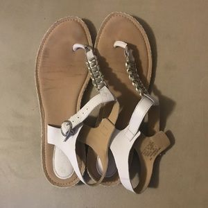 White Sperry sandals